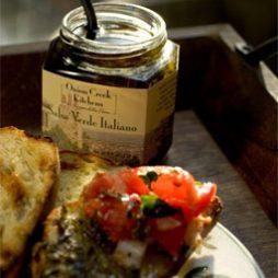 salsa verde italiano on focaccia bread