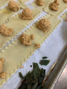 Assembly of Pumpkin Pasta Rolls